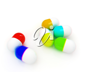 Pills on a white background. 3D illustration. Anaglyph. View with red/cyan glasses to see in 3D.