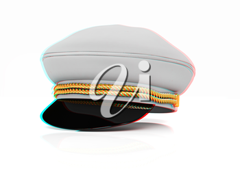 Marine cap on a white background. 3D illustration. Anaglyph. View with red/cyan glasses to see in 3D.