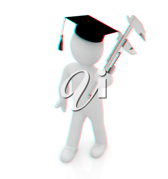 3d man in graduation hat with vernier caliper on a white background. 3D illustration. Anaglyph. View with red/cyan glasses to see in 3D.