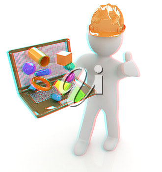 3D small people - an engineer with the laptop presents 3D capabilities on a white background. 3D illustration. Anaglyph. View with red/cyan glasses to see in 3D.