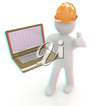 3D small people - an engineer with the laptop on a white background. 3D illustration. Anaglyph. View with red/cyan glasses to see in 3D.