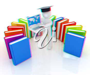 3d man in graduation hat working at his laptop and books on a white background. 3D illustration. Anaglyph. View with red/cyan glasses to see in 3D.