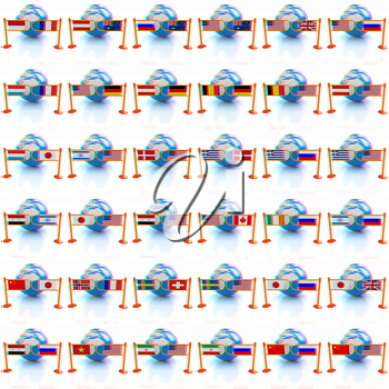 Set of three-dimensional image of the flags of world on a white background . 3D illustration. Anaglyph. View with red/cyan glasses to see in 3D.