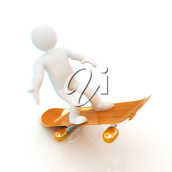 3d white person with a skate and a cap. 3d image on a white background. 3D illustration. Anaglyph. View with red/cyan glasses to see in 3D.