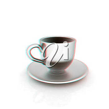 Cup on a saucer on white background. 3D illustration. Anaglyph. View with red/cyan glasses to see in 3D.