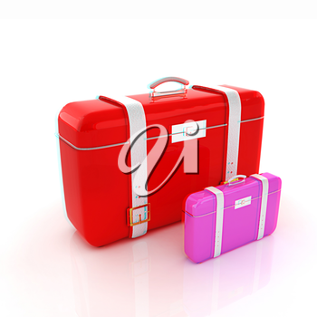 Traveler's suitcases. . 3D illustration. Anaglyph. View with red/cyan glasses to see in 3D.