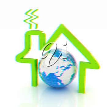 3d green icon house, earth on white background . 3D illustration. Anaglyph. View with red/cyan glasses to see in 3D.