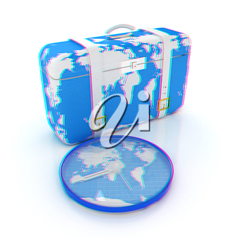 Suitcase for travel. 3D illustration. Anaglyph. View with red/cyan glasses to see in 3D.