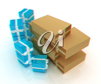 Cardboard boxes and gifts on a white background. 3D illustration. Anaglyph. View with red/cyan glasses to see in 3D.