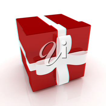 Bright christmas gift on a white background . 3D illustration. Anaglyph. View with red/cyan glasses to see in 3D.