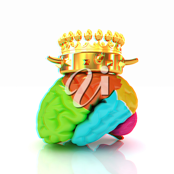 Gold Crown on the brain. 3D illustration. Anaglyph. View with red/cyan glasses to see in 3D.
