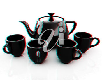 black teapot and cups. 3D illustration. Anaglyph. View with red/cyan glasses to see in 3D.