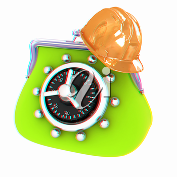 hard hat on purse safe. 3D illustration. Anaglyph. View with red/cyan glasses to see in 3D.