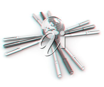 Earth Day concept. 3D illustration. Anaglyph. View with red/cyan glasses to see in 3D.