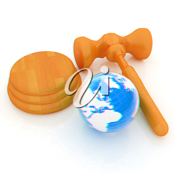 Wooden gavel and earth isolated on white background. Global auction concept. 3D illustration. Anaglyph. View with red/cyan glasses to see in 3D.