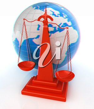 3d scale and Earth. 3D illustration. Anaglyph. View with red/cyan glasses to see in 3D.