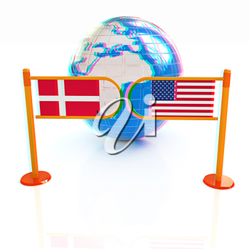 Three-dimensional image of the turnstile and flags of Denmark and USA on a white background . 3D illustration. Anaglyph. View with red/cyan glasses to see in 3D.
