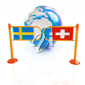 Three-dimensional image of the turnstile and flags of Switzerland and Sweden on a white background . 3D illustration. Anaglyph. View with red/cyan glasses to see in 3D.