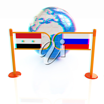 Three-dimensional image of the turnstile and flags of Russia and Syria on a white background . 3D illustration. Anaglyph. View with red/cyan glasses to see in 3D.