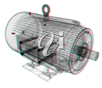 3d-model of an electric motor. 3D illustration. Anaglyph. View with red/cyan glasses to see in 3D.