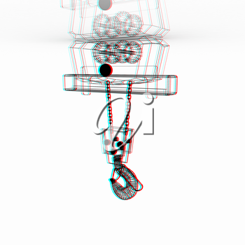 Crane hook. 3D illustration. Anaglyph. View with red/cyan glasses to see in 3D.