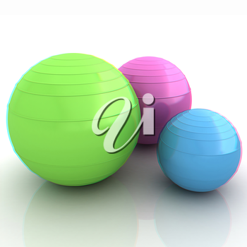 Fitness balls. 3D illustration. Anaglyph. View with red/cyan glasses to see in 3D.