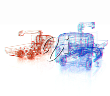 3d model truck. 3D illustration. Anaglyph. View with red/cyan glasses to see in 3D.