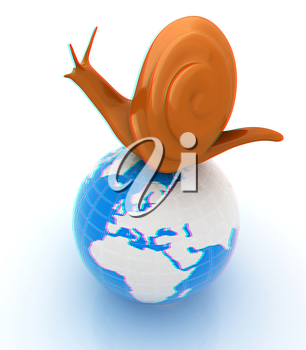 3d fantasy animal, snail and earth on white background . 3D illustration. Anaglyph. View with red/cyan glasses to see in 3D.