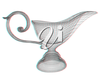 Vase in the eastern style. 3D illustration. Anaglyph. View with red/cyan glasses to see in 3D.
