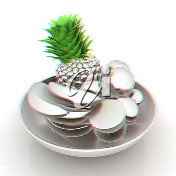 Metall citrus in a dish. 3D illustration. Anaglyph. View with red/cyan glasses to see in 3D.