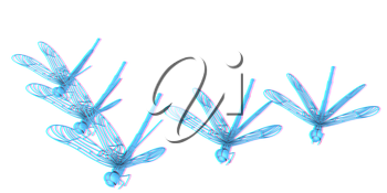 Dragonflies. 3D illustration. Anaglyph. View with red/cyan glasses to see in 3D.