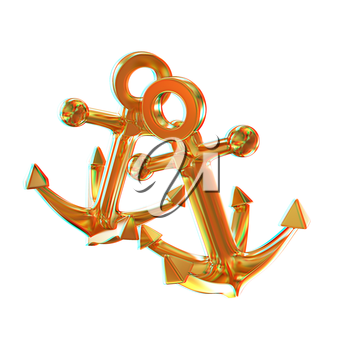 Gold anchors. 3D illustration. Anaglyph. View with red/cyan glasses to see in 3D.