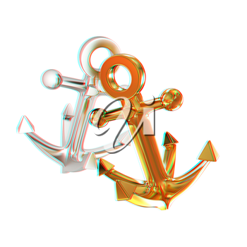 anchors. 3D illustration. Anaglyph. View with red/cyan glasses to see in 3D.