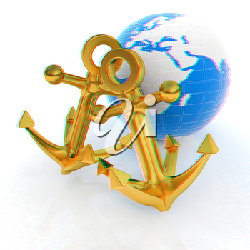 Gold anchors and Earth. 3D illustration. Anaglyph. View with red/cyan glasses to see in 3D.