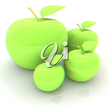 One large apple and apples around - from the smallest to largest. Dieting concept. 3D illustration. Anaglyph. View with red/cyan glasses to see in 3D.
