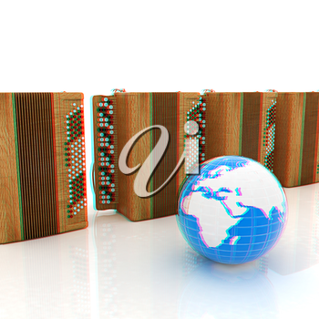 Musical instruments - retro bayans and Earth. 3D illustration. Anaglyph. View with red/cyan glasses to see in 3D.