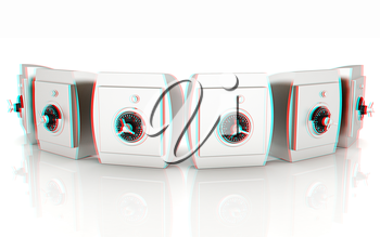Several safes. 3D illustration. Anaglyph. View with red/cyan glasses to see in 3D.