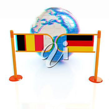Three-dimensional image of the turnstile and flags of Germany and Belgium on a white background . 3D illustration. Anaglyph. View with red/cyan glasses to see in 3D.