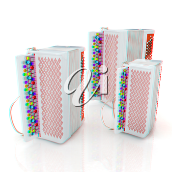 Musical instruments - bayans. 3D illustration. Anaglyph. View with red/cyan glasses to see in 3D.
