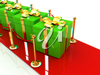 Beautiful Christmas gifts on New Year's path to the success. 3D illustration. Anaglyph. View with red/cyan glasses to see in 3D.