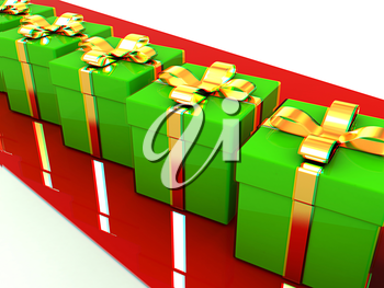 gifts box. 3D illustration. Anaglyph. View with red/cyan glasses to see in 3D.
