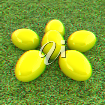 Yellow Easter eggs as a flower on a green grass. 3D illustration. Anaglyph. View with red/cyan glasses to see in 3D.