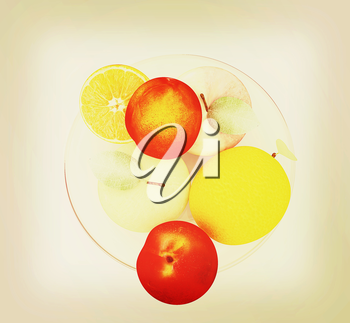 Citrus and apples on a white background. 3D illustration. Vintage style.