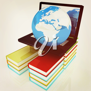 concept of online education on a white background. 3D illustration. Vintage style.