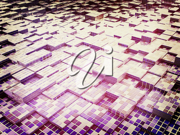 Abstract mosaic urban background . 3D illustration. Vintage style.