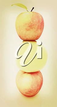Spa still life from apples on a white background. 3D illustration. Vintage style.