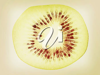 slices of kiwi on a white background. 3D illustration. Vintage style.