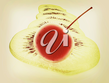 slices of kiwi and cherry on a white . 3D illustration. Vintage style.