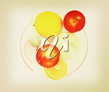 Citrus and apple on a plate on a white background. 3D illustration. Vintage style.