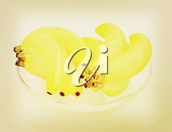bananas on a plate on a white background. 3D illustration. Vintage style.